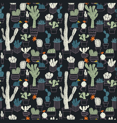 seamless pattern of cute potted cactuses vector image