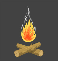 isolated of campfire logs burning vector image