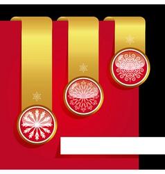 Christmas ribbon set with snowflakes vector image