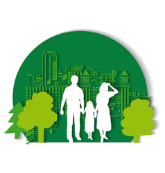 Green city family flat vector