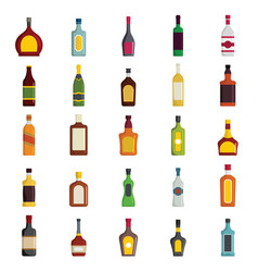 Alcoholic drinks bottles large set vector