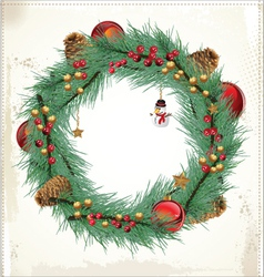Christmas floral wreath vector