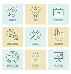 Business infographics icons development and vector