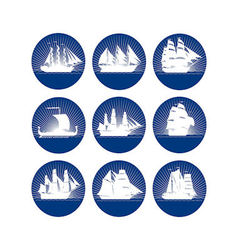 Badges with sailing ships-2 vector