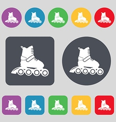 Roller skate icon sign a set of 12 colored buttons vector
