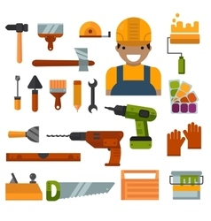 Building home repair and decoration works tools vector