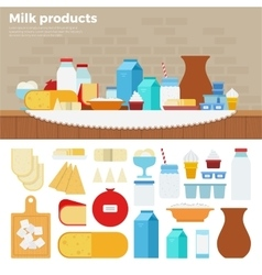 Milk products on the table vector