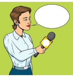 Woman reporter with microphone comic book vector image