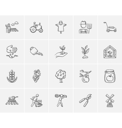 Agriculture sketch icon set vector image