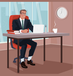 Angry businessman in office vector