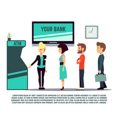 atm queue with bank adviser - bank service concept vector image