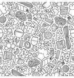Cartoon cute hand drawn Italian food seamless vector image vector image