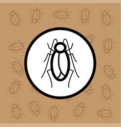 cockroach icon sign and symbol on brown background vector image