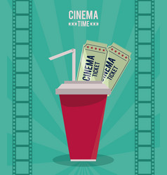 Colorful poster of cinema time with drink and vector