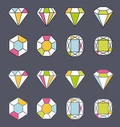 Design facet crystal gem shape logo element lined vector