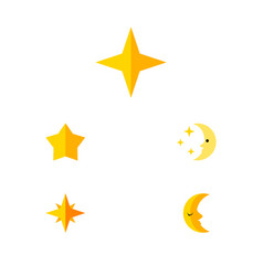 Flat icon night set of nighttime asterisk moon vector