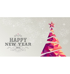 Happy new year 2016 card christmas tree triangle vector image