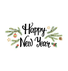 happy new year lettering with watercolor vector image