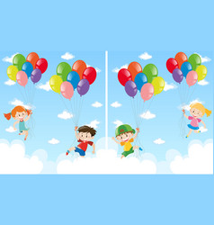 kids and balloons flying in the sky vector image