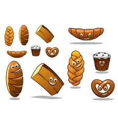 Large set of cartoon loaves of bread vector image