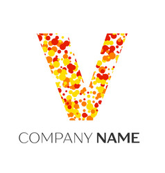 Letter v logo with orange yellow red particles vector