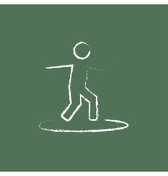 Man on a surfboard icon drawn in chalk vector image vector image