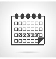 Menses calendar black icon vector