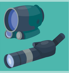 Professional binoculars glass look-see spyglass vector