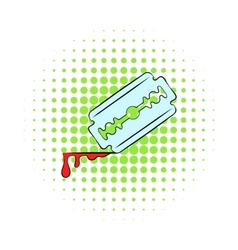 Razor blade icon comics style vector