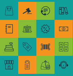 Set of 16 e-commerce icons includes outgoing vector