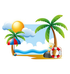 Summer scene with sun and ocean vector
