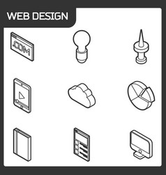 Web design outline isometric icons vector