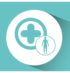 Silhouette man health icon cross vector