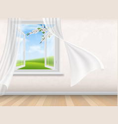Empty room interior with open window vector