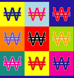 won sign pop-art style colorful icons set vector image