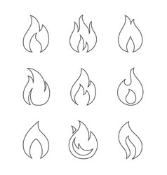 Burning fire outline icons on white background vector
