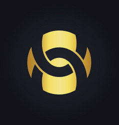 shape circle abstract round gold logo vector image