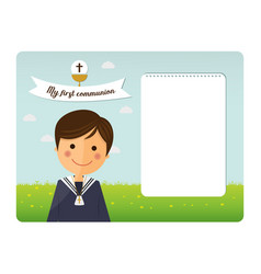 First communion child foreground invitation vector