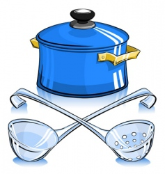 Pan with lid and ladle vector