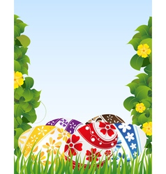 Easter eggs and yellow flowers vector