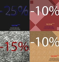 10 15 icon set of percent discount on abstract vector