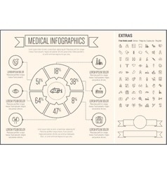 Medical line design infographic template vector