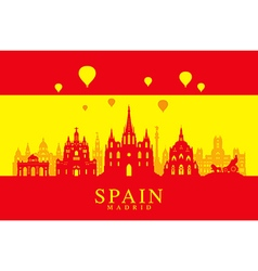 Spain travel landmarks flag vector