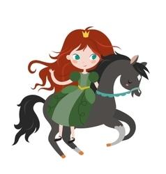 Cute cartoon princess on black horse vector