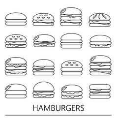 Hamburgers types fast food modern simple outline vector