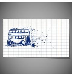 A hand-drawn double-decker bus vector