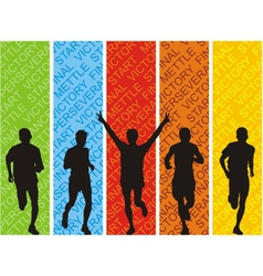 Athletes on a colored background vector image vector image