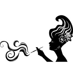 Attractive smoking woman vector