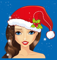 Avatar girl with christmas hat vector