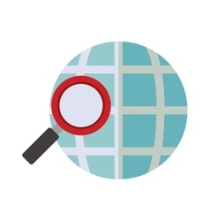 Blue sphere map with magnifying glass vector